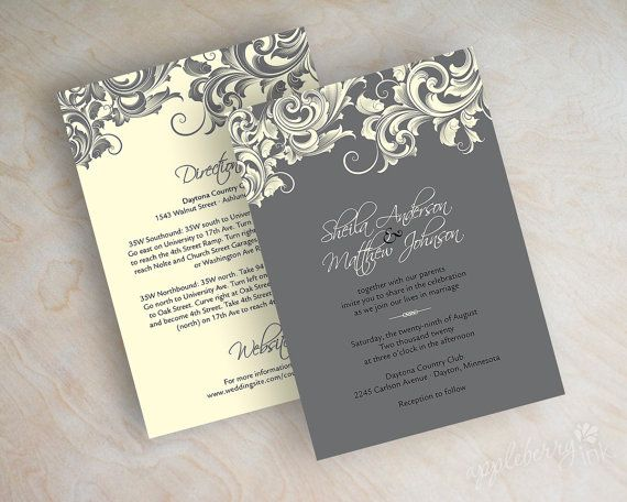 Wedding invitations victorian filigree pattern design wedding stationery in charcoal gray and ivory jora