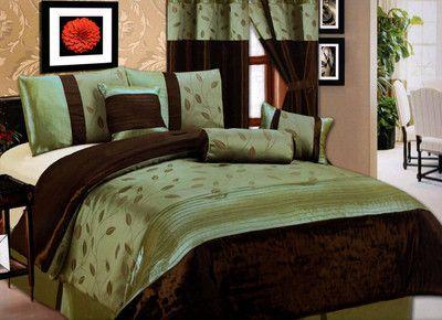 New 11 Pc King Bedding Sage Green Brown Willow Comforter Set Inc 1 Curtain Set Luxury Comforter Sets Comforter Sets Bed Comforter Sets