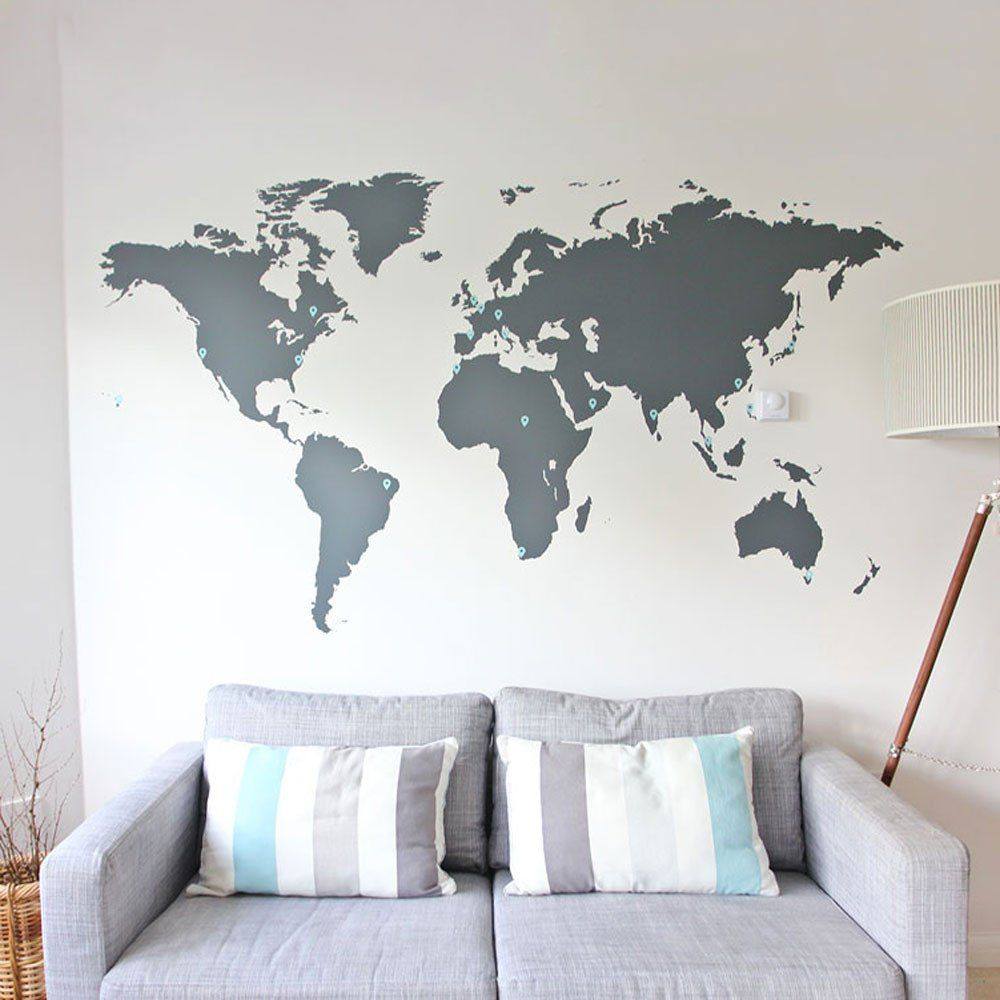 world map vinyl wall sticker  vinyl wall stickers wall sticker  - world map vinyl wall sticker