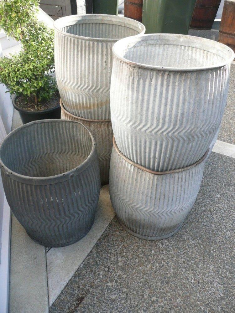 Zinc Washer Bins ideal as garden planters.