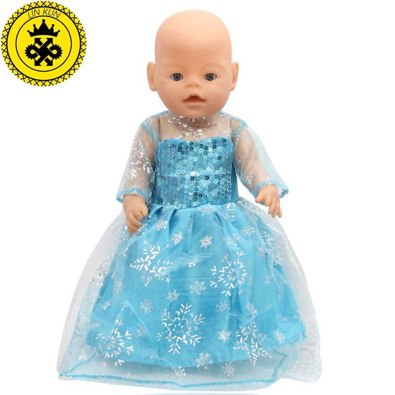 43cm Baby Born Zapf Doll Dress Clothes Doll Accessories Elsa Blue ...
