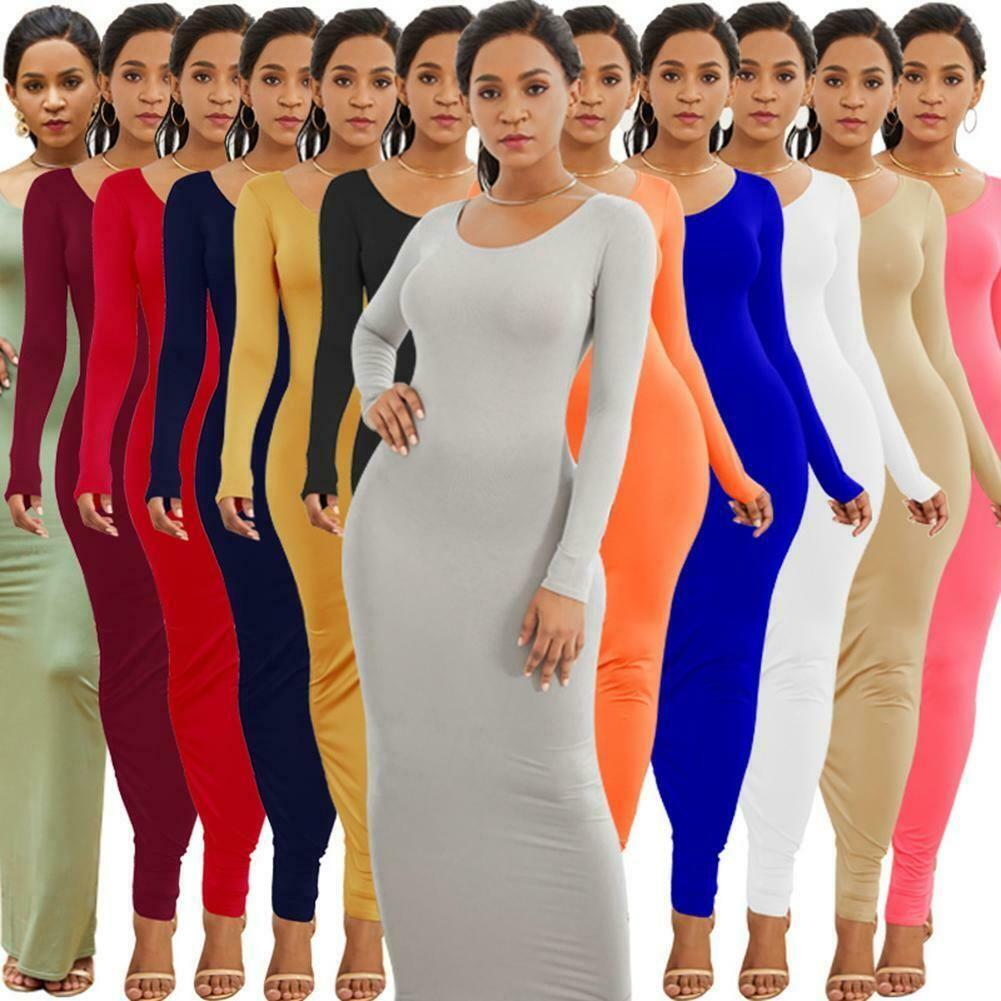 Fashion Women Long Sleeve Solid Bodycon Elastic Slim Package Hip Maxi Dress N S7 Maxi Dresses Long Sleeve Summer Dress Maxi Dress Cocktail Long Sleeve Dress [ 1001 x 1001 Pixel ]