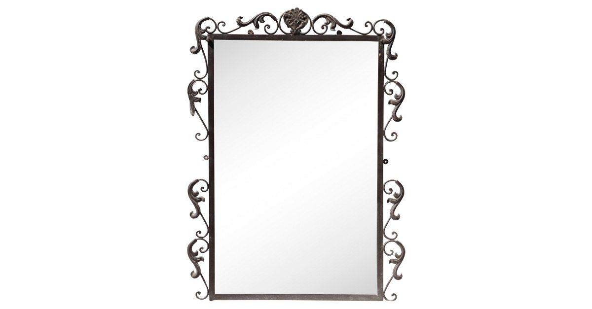 Wrought Iron Beveled Mirror,,,$399.00; $1,750.00 Estimated Market Value Era: Vintage Condition: Very Good; some wear to iron