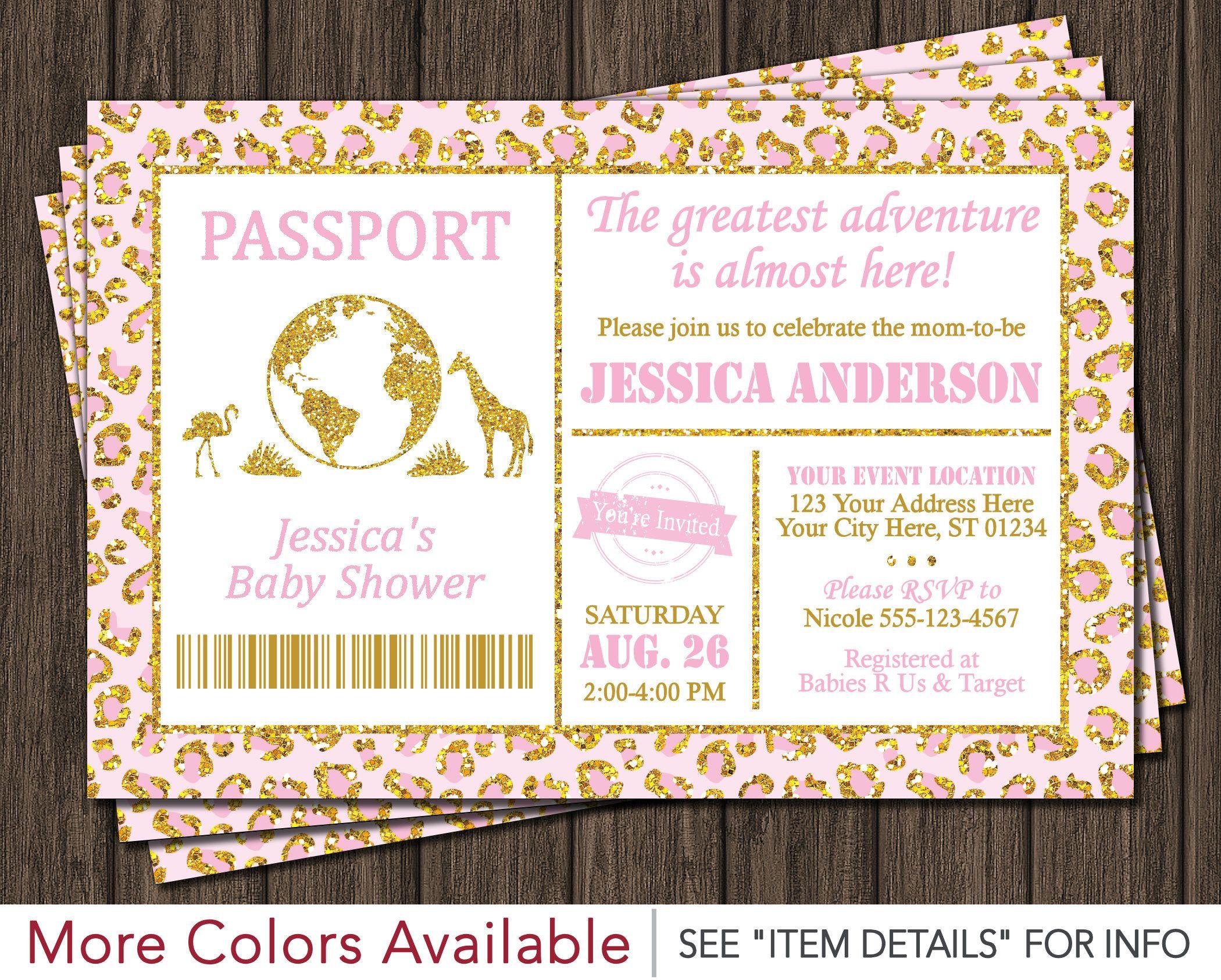 Safari passport baby shower invitation baby pink and gold safari passport baby shower invitation baby pink and gold by puggyprints on etsy filmwisefo