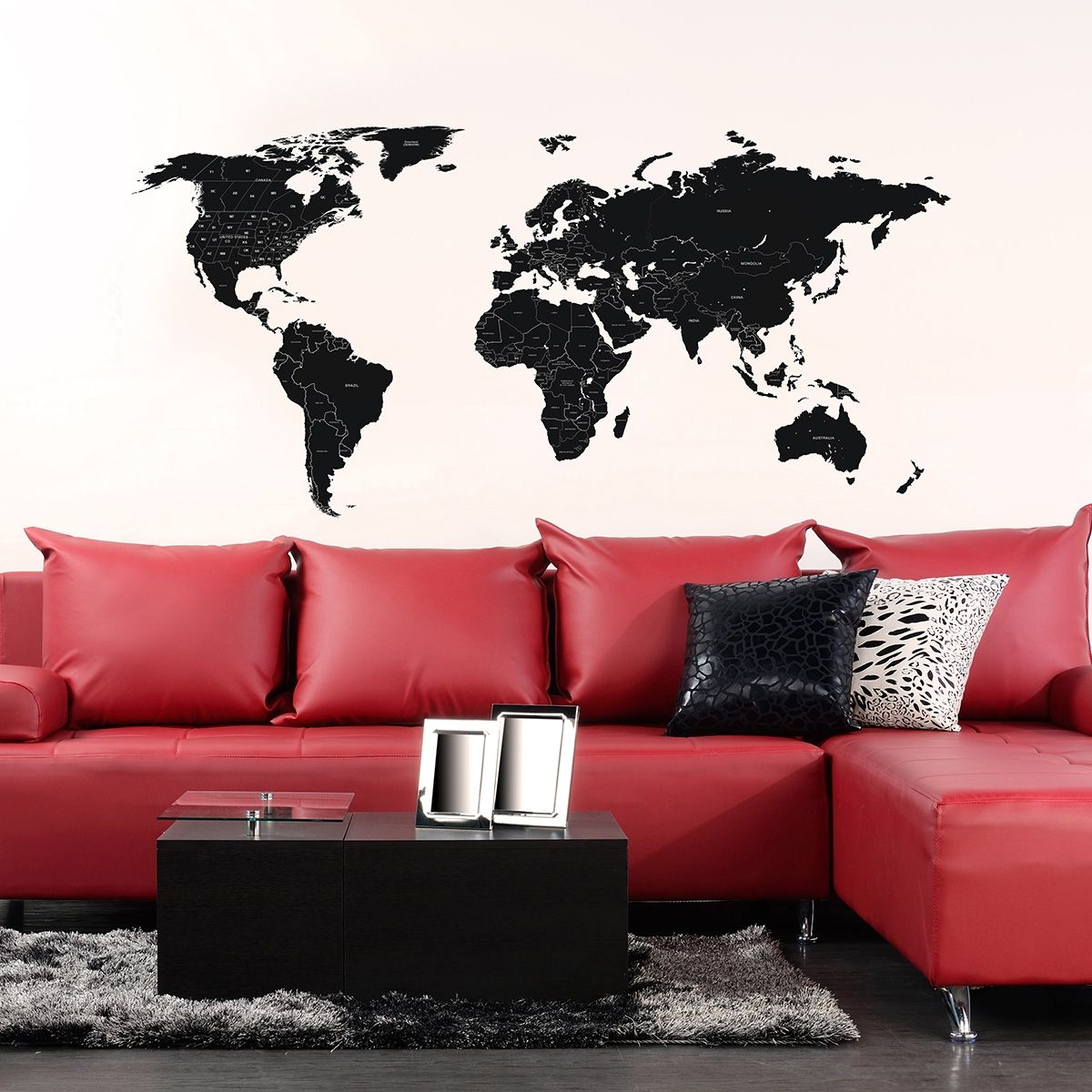 Large black labelled world map wall sticker pinterest large large black labelled world map wall sticker gumiabroncs Gallery