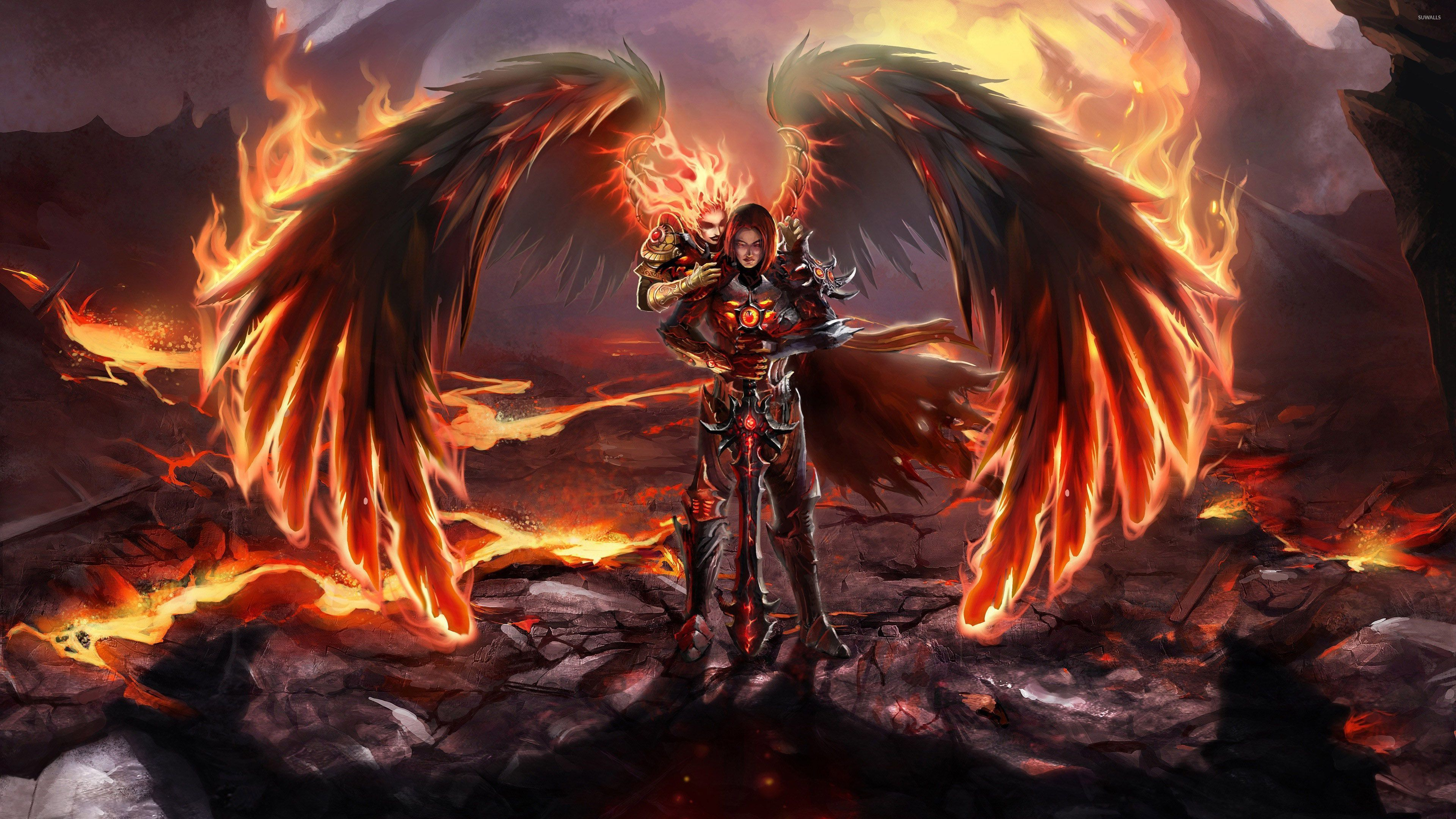 Might Magic Heroes Vi Wallpaper Male Angels Hero Wallpaper Light In The Dark