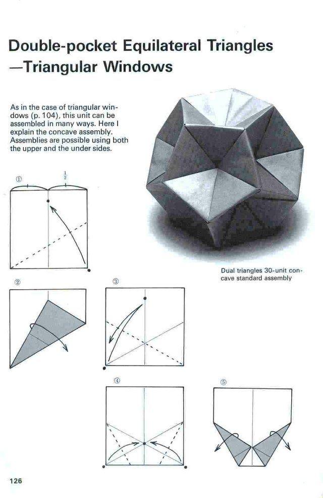 Diagrama Do Kusudama Triangular Windows Geometric Origami Origami Paper Modular Origami