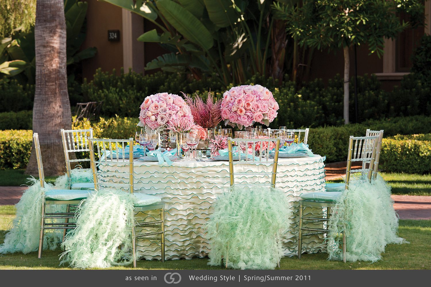 Decor for chairs wedding Iridescent ivory taffeta with aqua accents showcasing pavé of pink