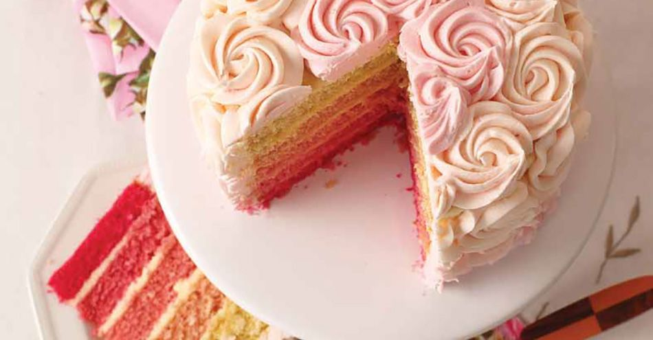 Stun friends and family with this beautiful ombre rose cake