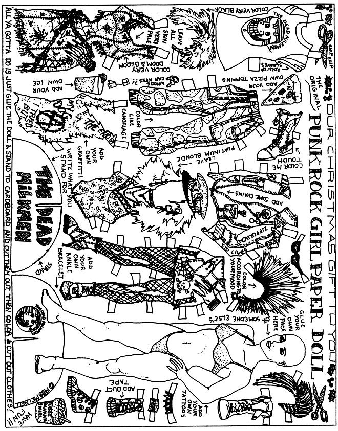 The Dead Milkmen Punk Rock Girl paperdoll that you can color in ...