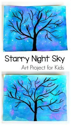 Starry Night Sky Art Project for Kids: Use watercolors to make this nighttime star and tree scene. Perfect for preschool, kindergarten and up! (Can also be transformed into a winter tree.) ~ http://BuggyandBuddy.com