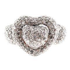 Domed Diamond White Gold Heart Ring