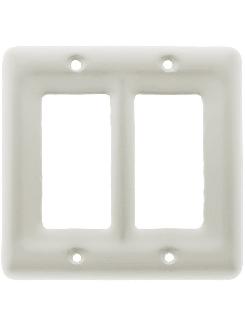 White Porcelain Double Gfi Cover Plate White Porcelain Switch Plate Covers Ceramics