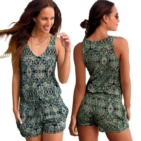 8446cf78ced Sexy Sleeveless jumpsuit women short romper summer floral shorts bodysuit  beach playsuit coveralls female frock