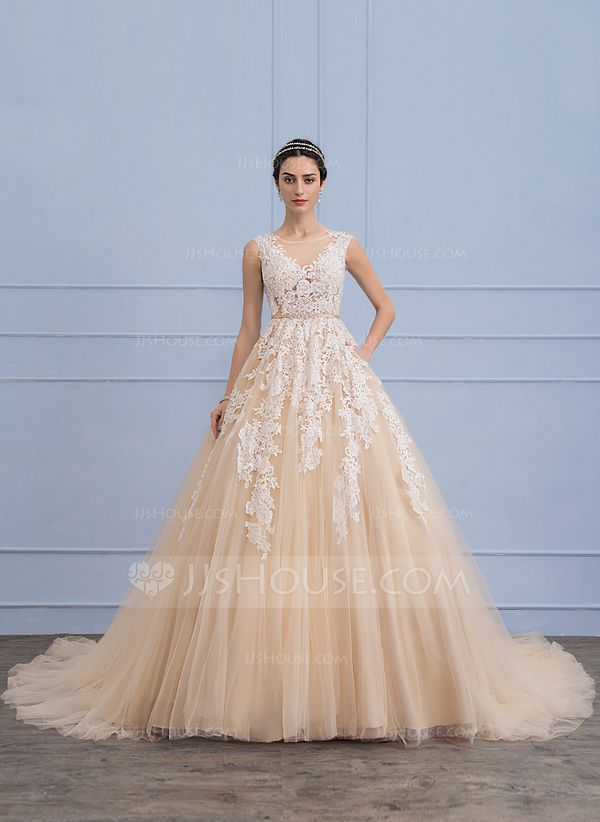 91f13ec4384 Ball-Gown Scoop Neck Cathedral Train Tulle Lace Wedding Dress With Beading  Pockets (002107826