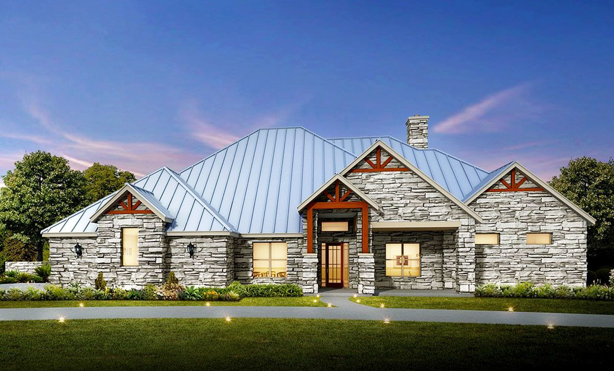 Stone exterior house plans - 4 Bed Hill Country Ranch House Plan With Stone Exterior 430007ly 1st Floor Master