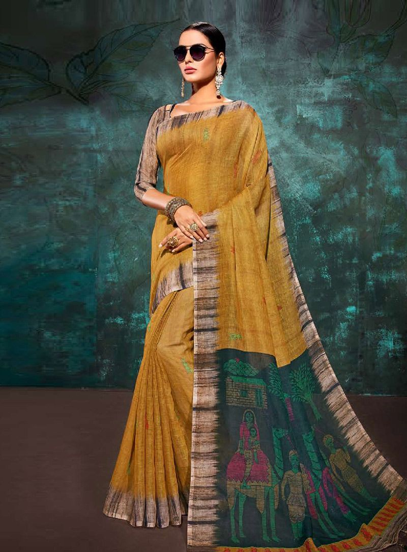 146c4f7d5e4d7f Buy Mustard Khadi Saree With Blouse 146707 with blouse online at lowest  price from vast collection of sarees at Indianclothstore.com.