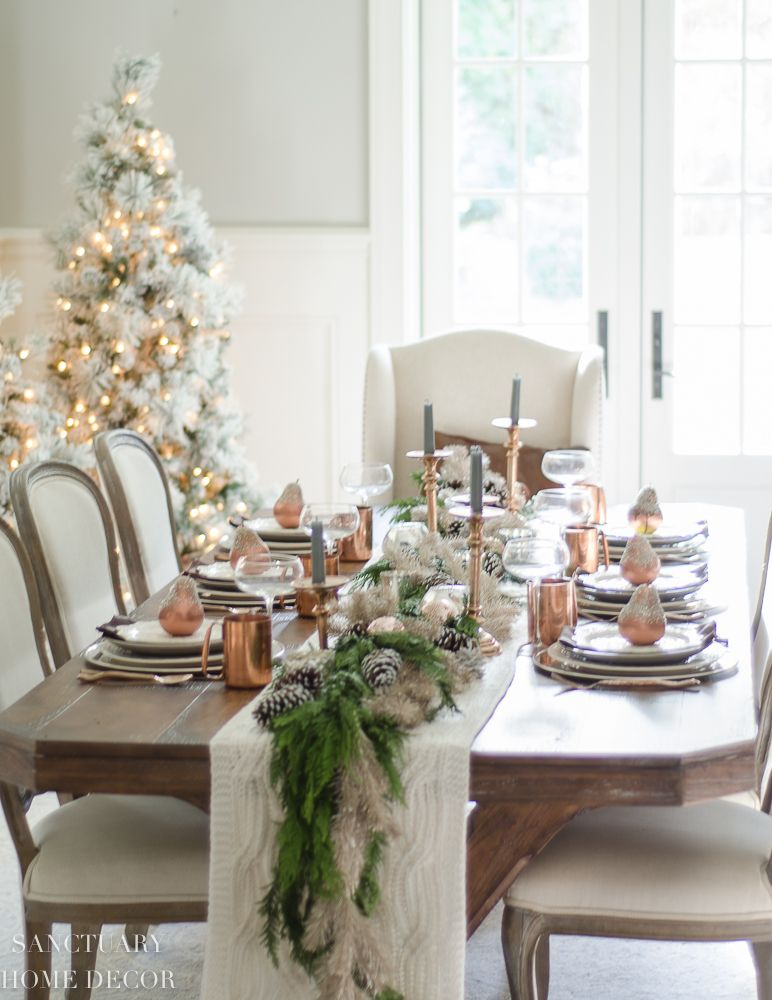 Christmas Tablescape 2020 A Neutral Christmas Tablescape With Copper Accents   Sanctuary
