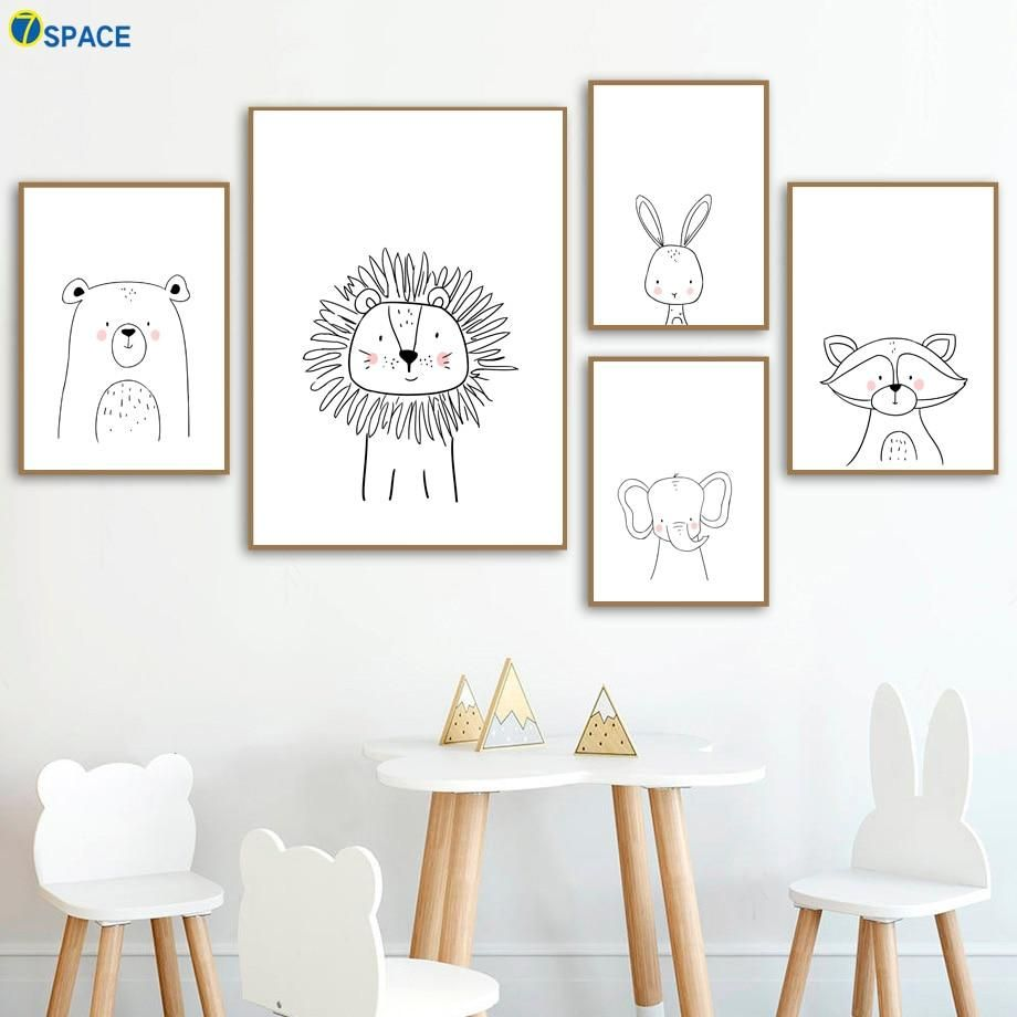 Lion Rabbit Bear Raccoon Wall Art Canvas Painting Nordic Posters And Prints Nursery Wall Pictures For Baby G Kids Room Wall Art Kids Wall Decor Boys Room Decor