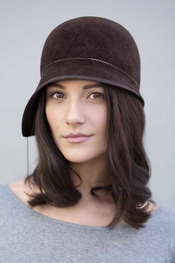 d0329b1a8e1 Cloche Hat in Brown Felt
