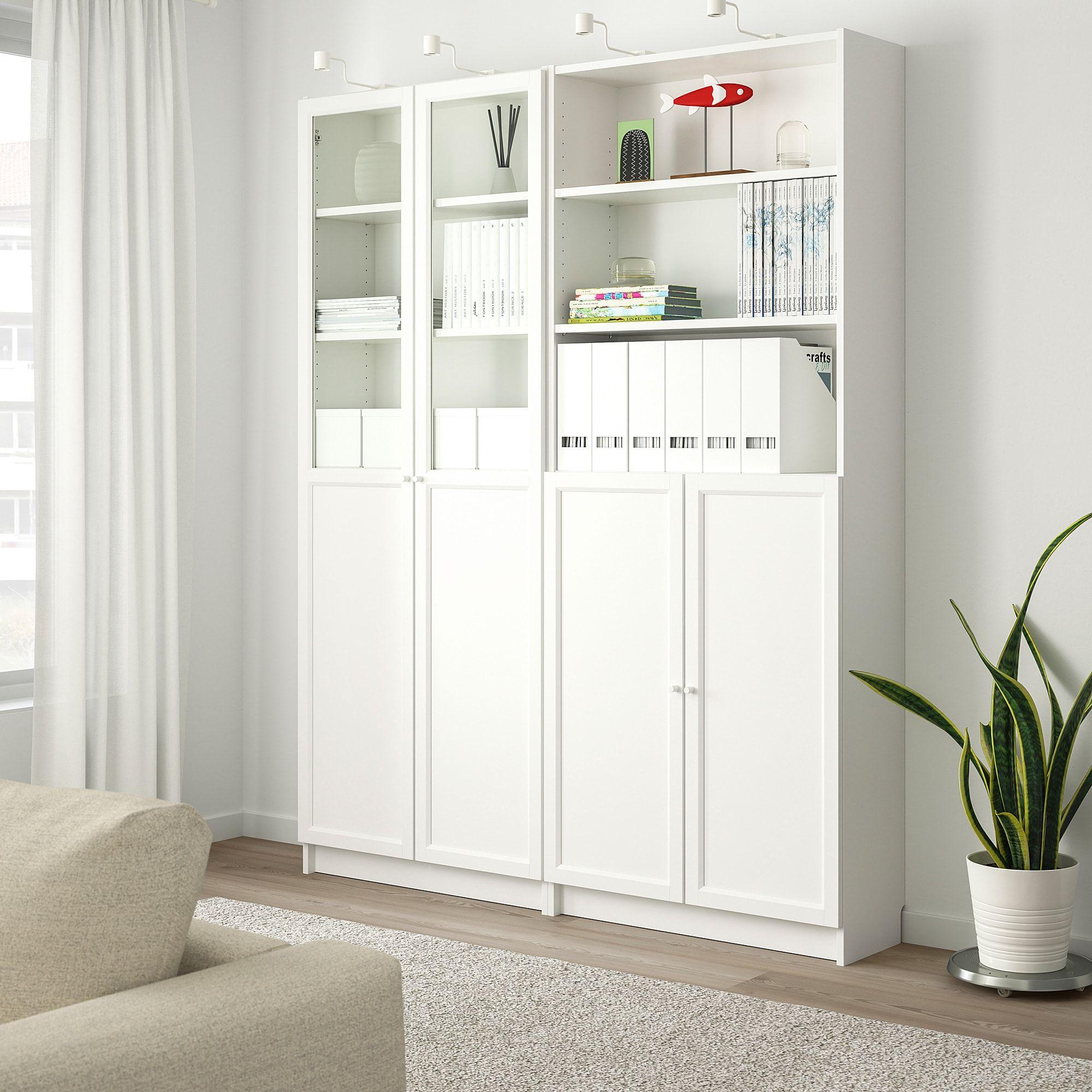Billy Oxberg Bookcase With Panel Glass Doors White 63x11 3 4x79 1 2 Bucherschrank Mit Glasturen Billy Bucherregal Billy Oxberg