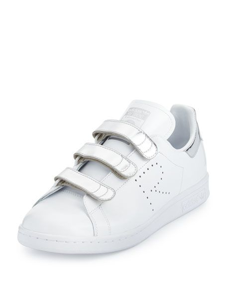huge discount a7519 629bf ADIDAS BY RAF SIMONS Stan Smith Metallic Triple-Strap Sneaker, White Silver.   adidasbyrafsimons  shoes