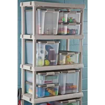 Sterilite 5-Shelf 36 in. W x 75.125 in. H x 18 in. D Plastic Shelving Unit (1-Pack)-01558501 at The Home Depot  sc 1 st  Pinterest & Sterilite 5-Shelf 36 in. W x 75.125 in. H x 18 in. D Plastic ...