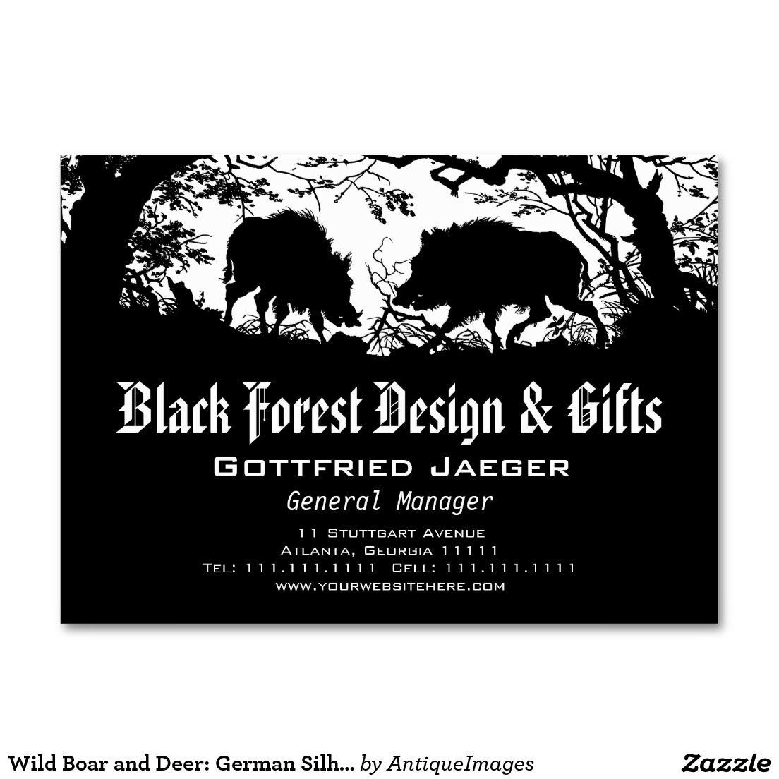Wild boar and deer german silhouette paper cut large business wild boar and deer german silhouette paper cut large business cards pack of reheart Gallery