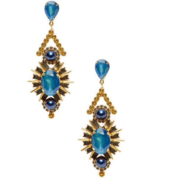 Elizabeth Cole Courtland Crystal Dangle Drop Earrings ($139) ❤ liked on Polyvore featuring jewelry, earrings, blue, long earrings, diamond earrings, antique earrings, long drop earrings y antique jewelry