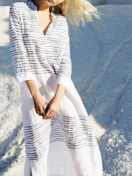 e35594d9ef4 Buy Casual Dresses For Women at JustFashionNow. Online Shopping Women Dress  Shift Holiday Striped V neck Dress