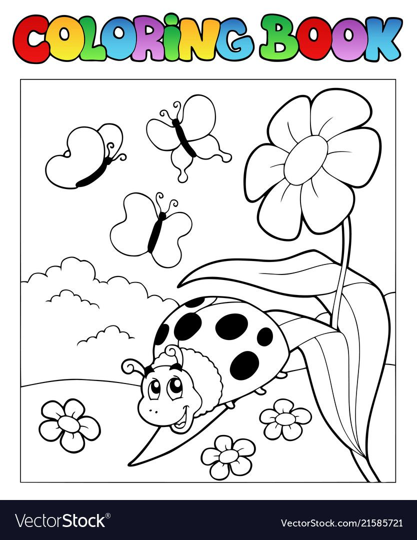 Coloring Book With Ladybug 1 Vector Image On Coloring Books Art Pages Vector Illustration