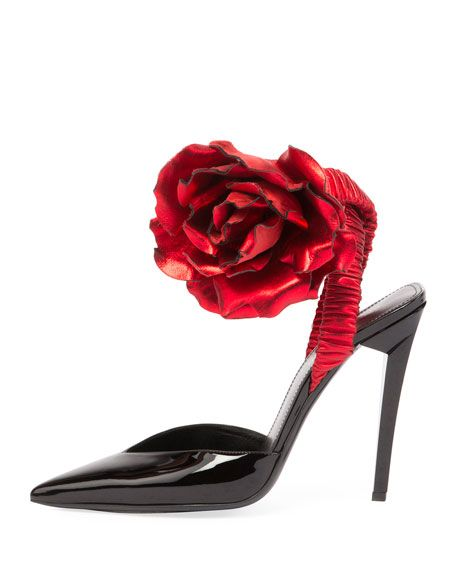 Saint Laurent Patent Slingback Pump w/Rose Flower VdqtY1Cl