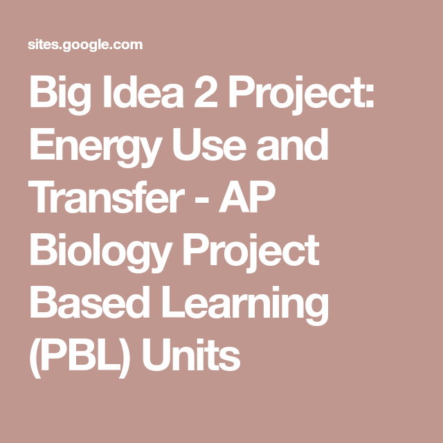 Big Idea 2 Project: Energy Use and Transfer - AP Biology Project