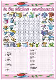 english worksheet in the kitchen utensils and appliances wordsearch b w version included. Black Bedroom Furniture Sets. Home Design Ideas