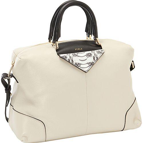 #DesignerHandbags, #Furla, #Handbags - Furla Nikia M Bauletto Satchel Panna/Roccia - Cream/Grey - Furla Designer Handbags