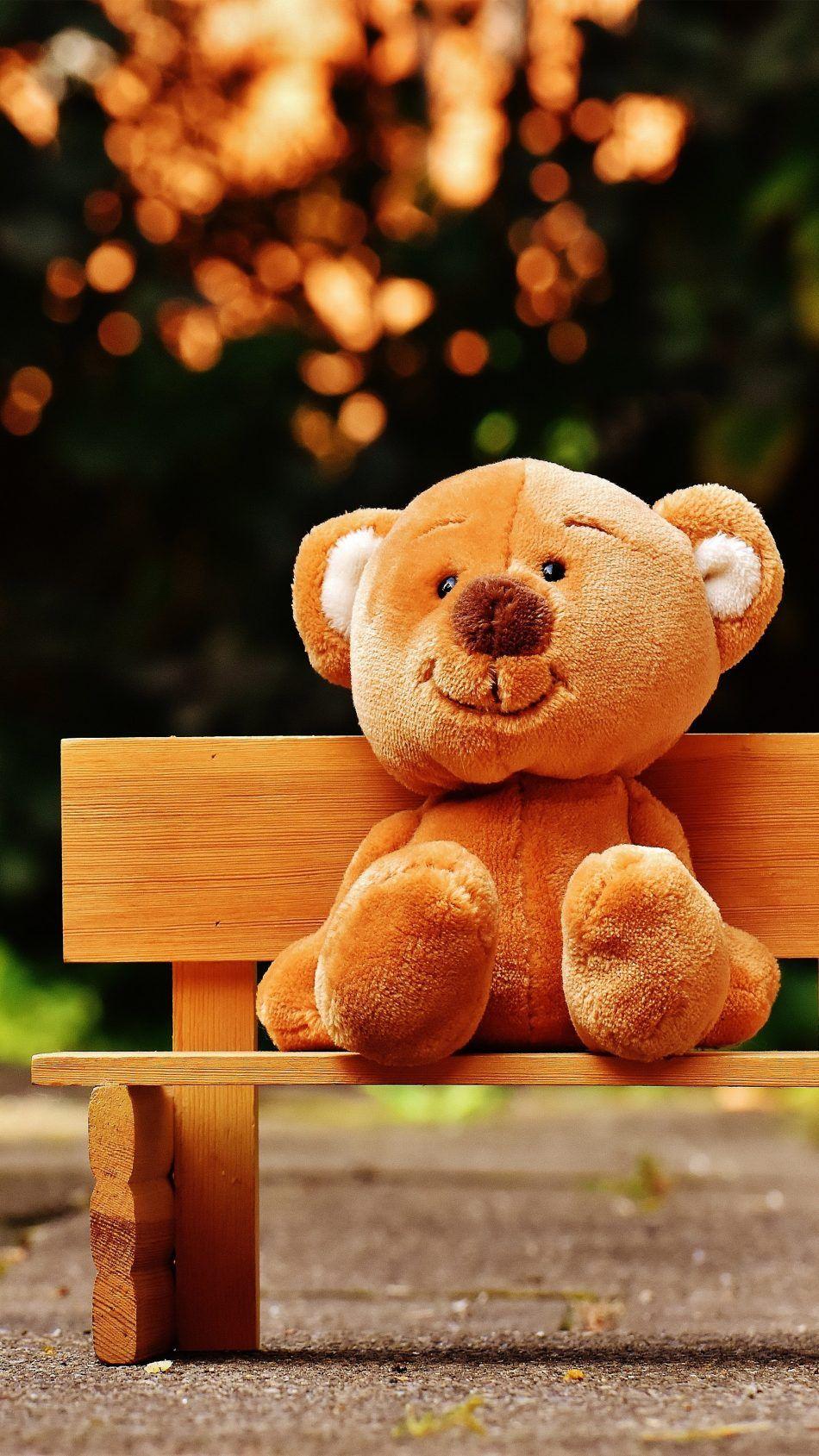 Cute Teddy Bear Park Bench 4k Ultra Hd Mobile Wallpaper Teddy Bear Wallpaper Cute Teddy Bear Pics Teddy Bear Images