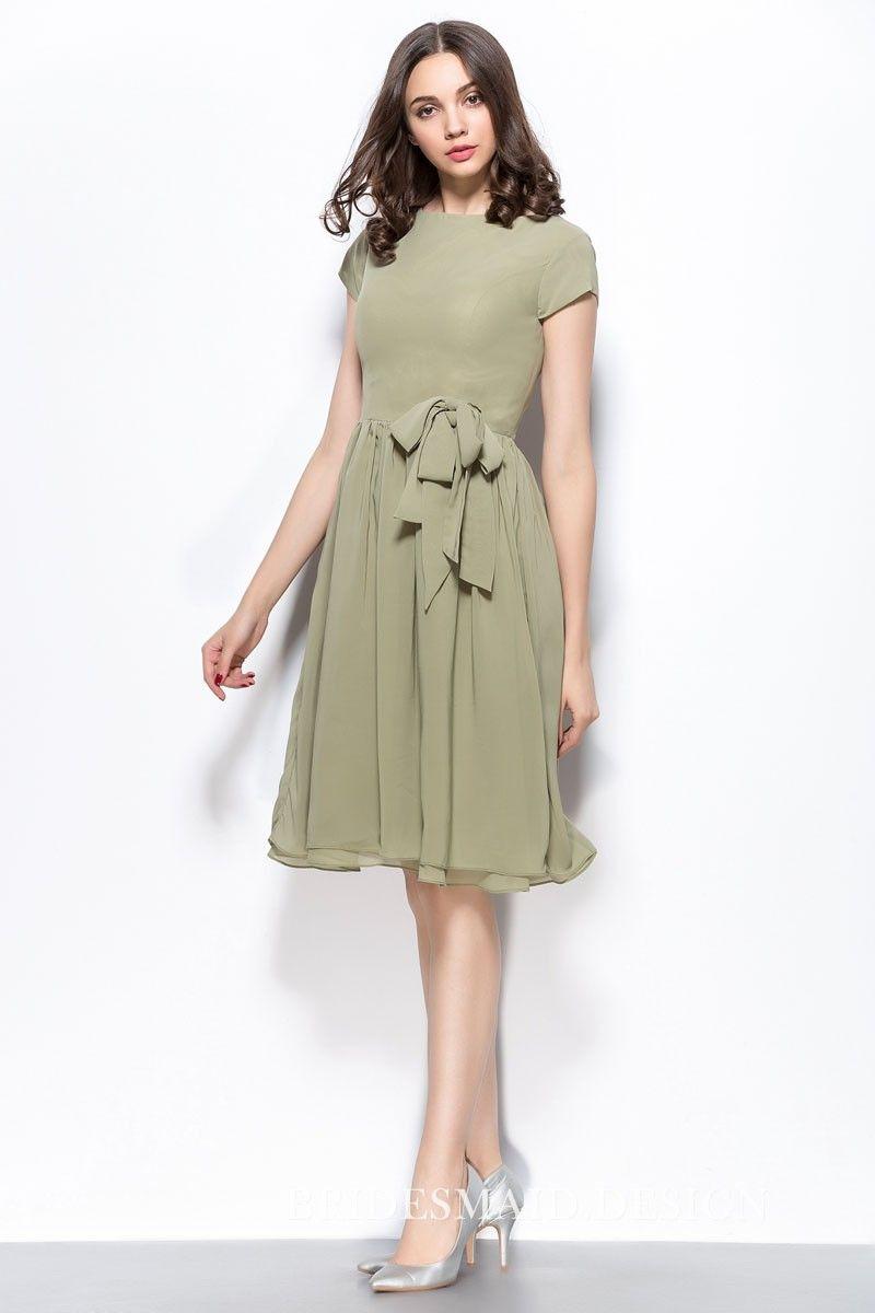 Vintage Inspired Sage Chiffon Short Bridesmaid Dress Bateau Neckline Green Bridesmaid Dresses Short Short Sleeve Bridesmaid Dress Sage Green Bridesmaid Dress [ 1200 x 800 Pixel ]