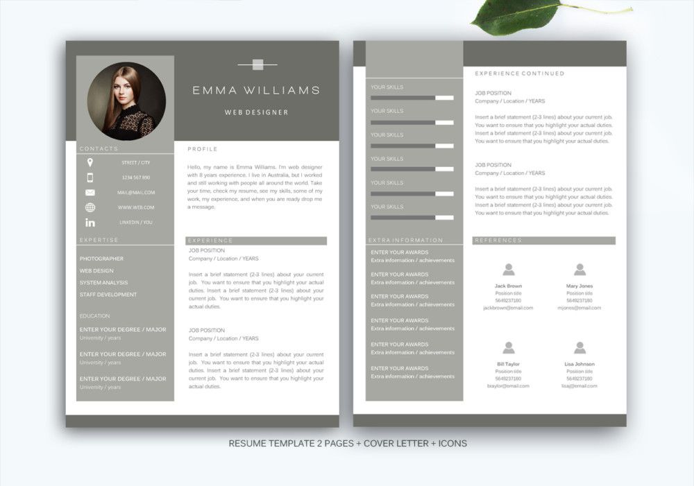 Web Designer Resume Templates Indesign Psd Ms