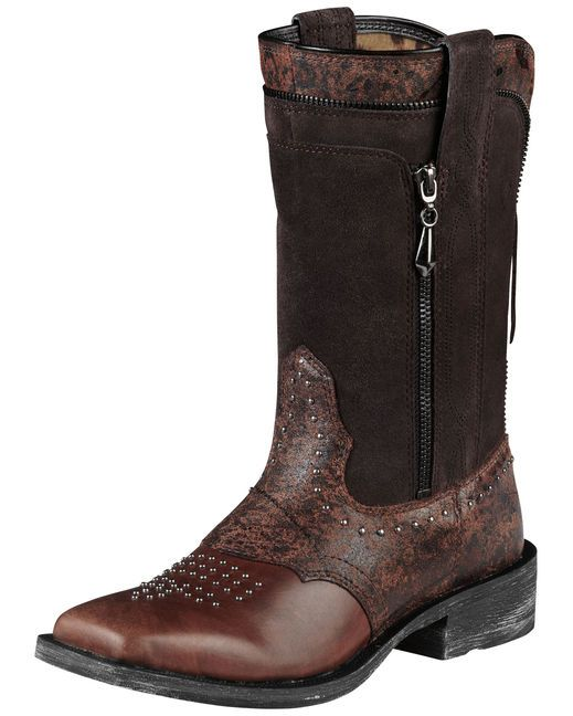Ariat Women's Rodeobaby Envy Boot - El Paso Brown/Wrangled (I like the  originality and the fact that it has zippers in the detail that actually  work!