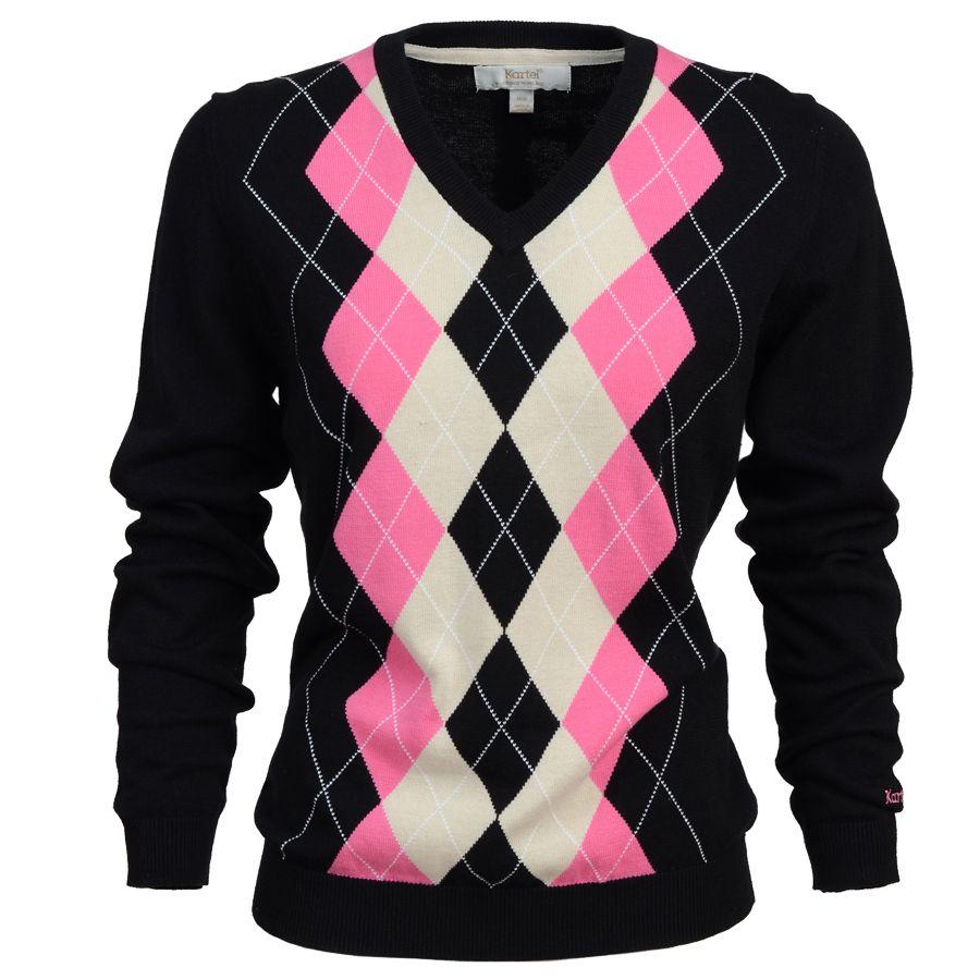 Kiera- Ladies V-neck argyle sweater