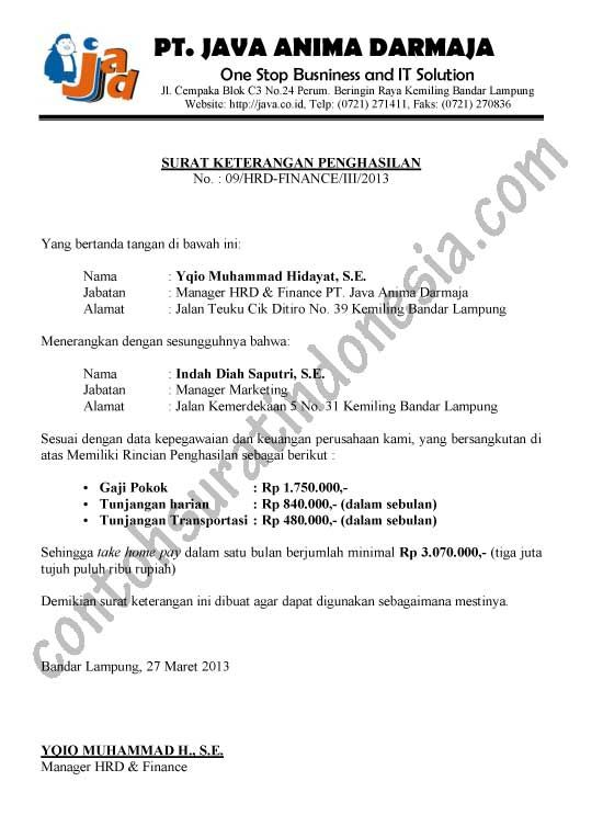 contoh surat keterangan penghasilan karyawan Surat