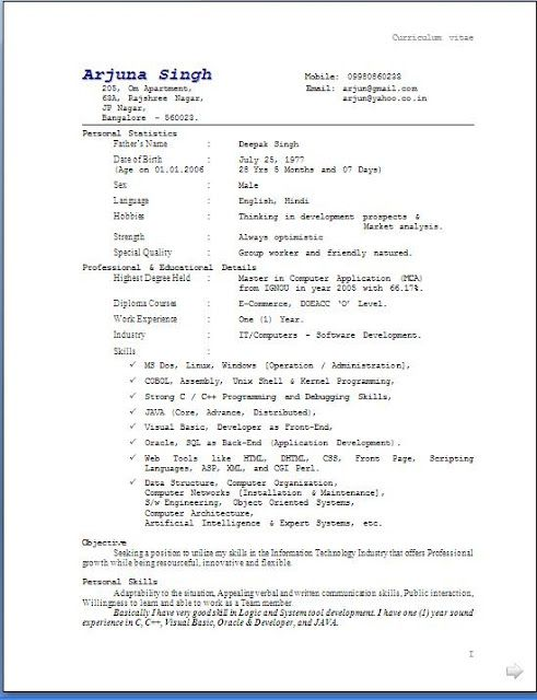 Best Resume Format Sample Free Download Sample Template Excellent