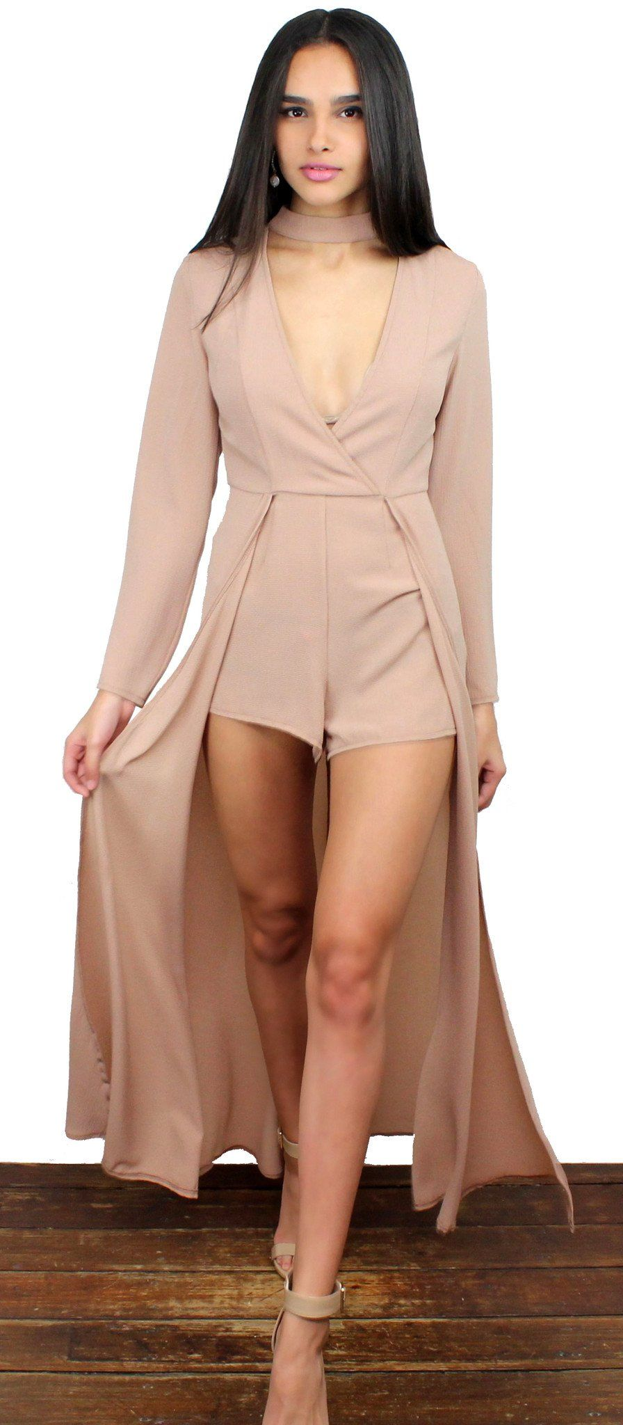 F I N A L S A L E ! Gorgeous Choker Nude Maxi-Romper featuring Choker, V-Neck & Long Sleeves at the Top Short and Over Layer Skirt at the Bottom Invisible Zipper at the Back Material: Polyester Color: NudeModel is wearing a Small Model Info: Height: 5'8 | Bust: 32 | Waist: 24 | Hip: 35 | Size Guide Product Code: 2623|2624|2625 FIT: This garment fits true to size BUST: Not Fitted - Great for any cup size. WAIST: Fitted - Fitted at natural waist. HIPS: Not Fitted - Room for hips. UNDERGARMENTS: Ma