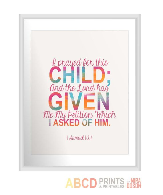 bible verse bible quote print i prayed for this child and the