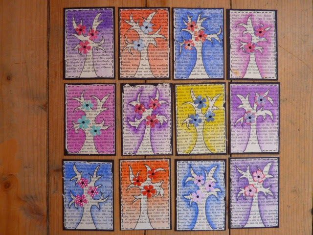 Pappersgalen - Papercrazy February ATCs for swapping.