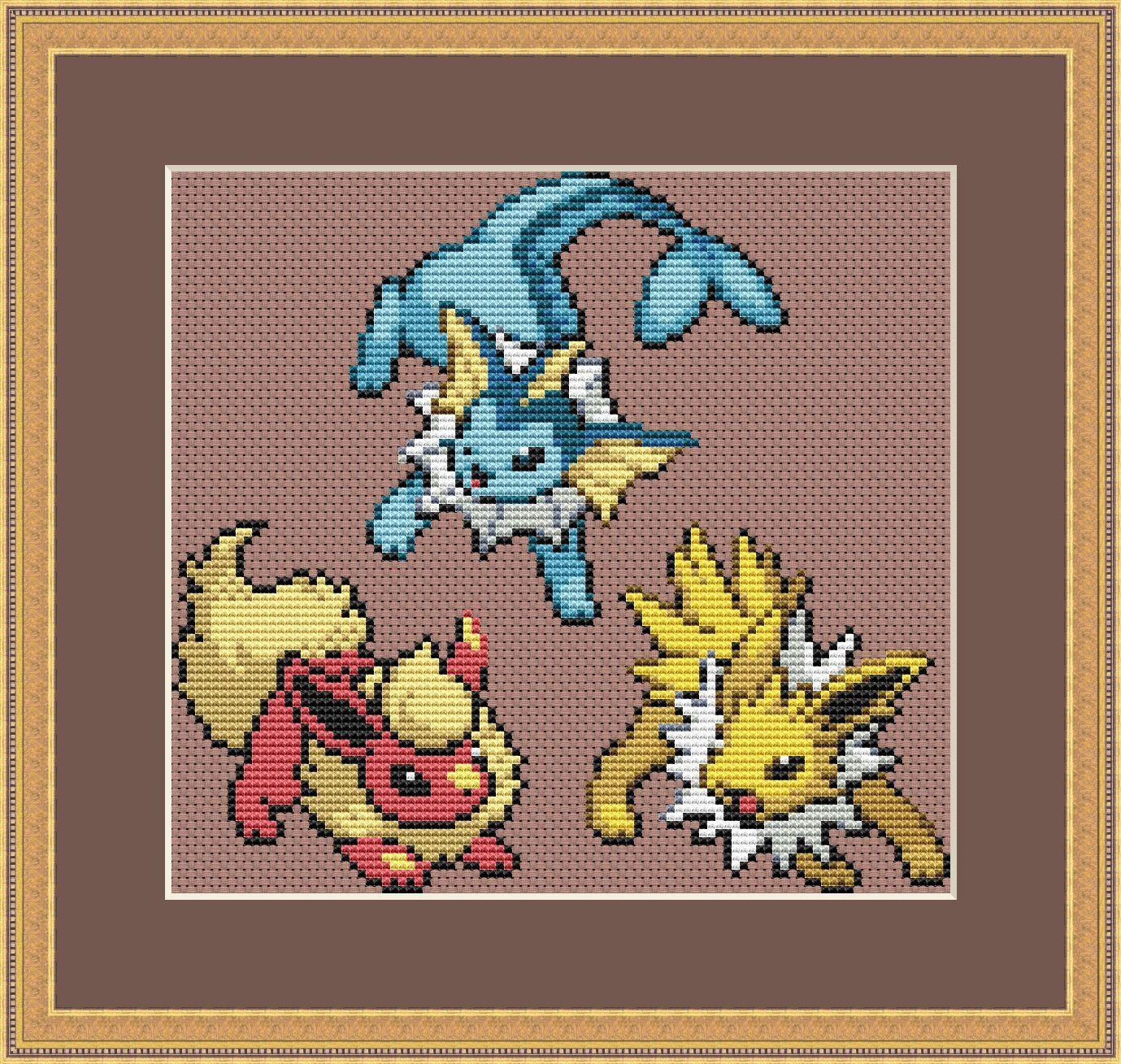 Pokemon Cross Stitch Pattern, Eevee Cross Stitch Pattern