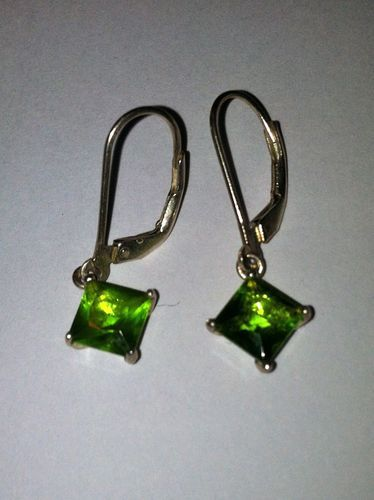 Estate Vintage Green Peridot Drop Dangle Sterling Silver 925 Leverback Earrings | eBay