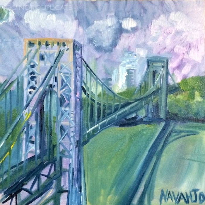 NAVAHJO STOLLER, Oil Paintings, Hudson Heights, George Washington Bridge Piantings, GWB.