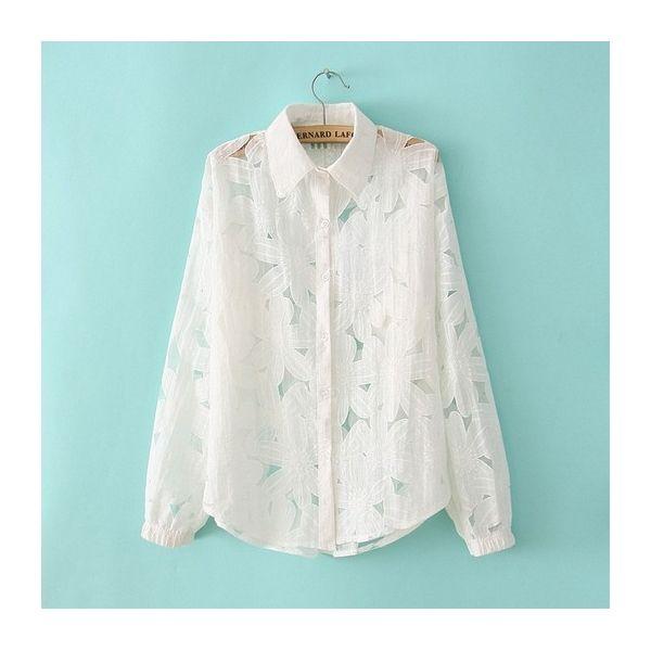 Hollow Flower Lace Collar Long-Sleeved Shirt