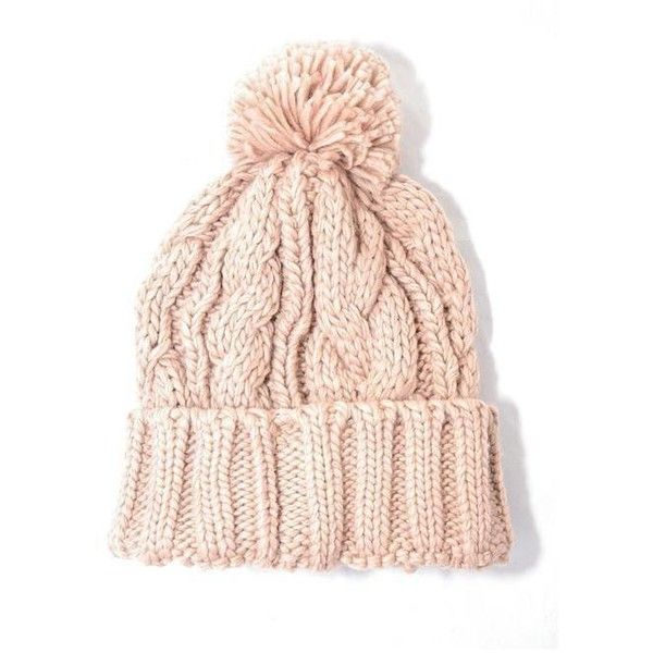 Light Pink Cable Knit Pom Beanie ( 25) ❤ liked on Polyvore featuring  accessories 4c12e0a2e01
